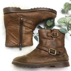 UGG Brown Leather Buckled Boots